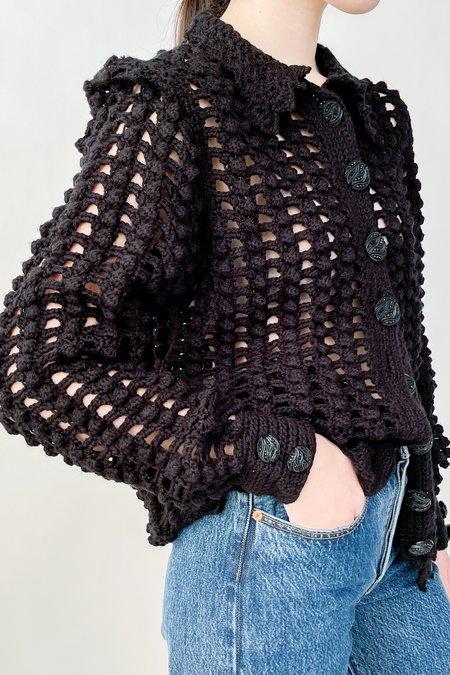Vintage Crochet Bishop Sleeve Cardigan - Black