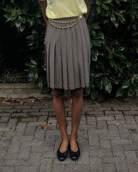 Vintage Pleated Skirt - Taupe