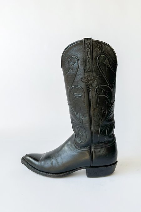 Vintage Leather Embossed Cowboy Boots - Black