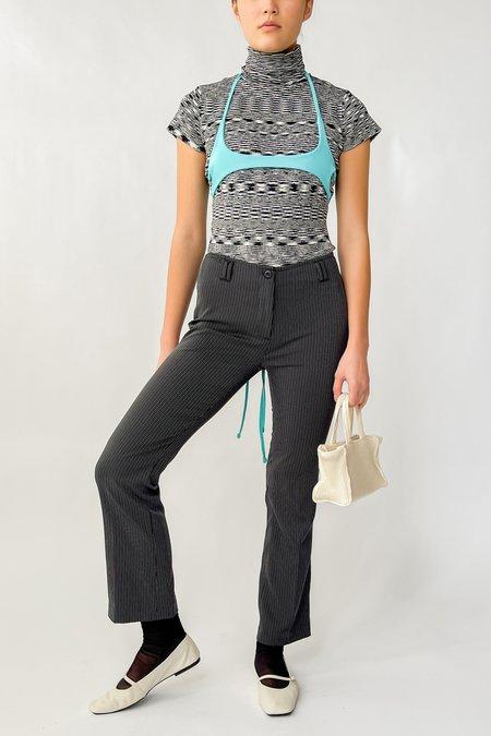 Vintage Pinstriped Low Rise Pants - Black