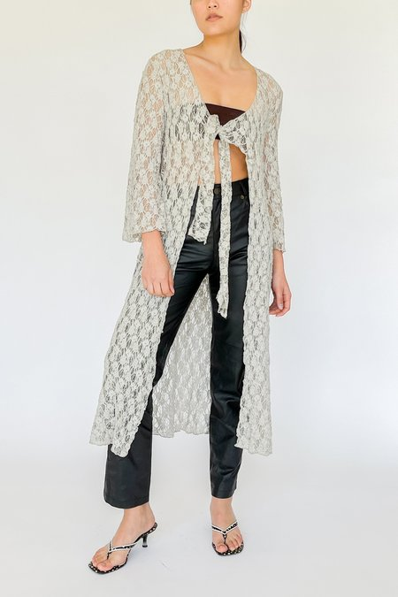 Vintage Embroidered Knit Cardigan - Dove Grey