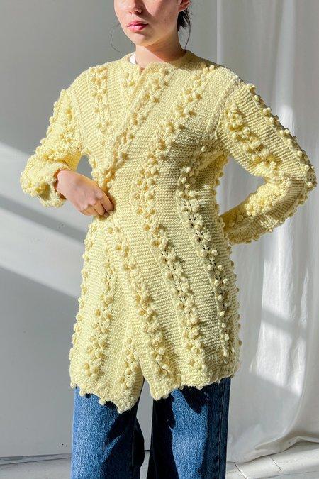 Vintage Knitted Textured Cardigan - Lemon