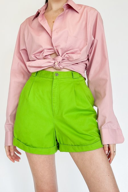 Vintage High Rise Cuffed Shorts - Lime