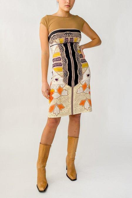 Vintage Silk Strapless Dress - Baroque Print