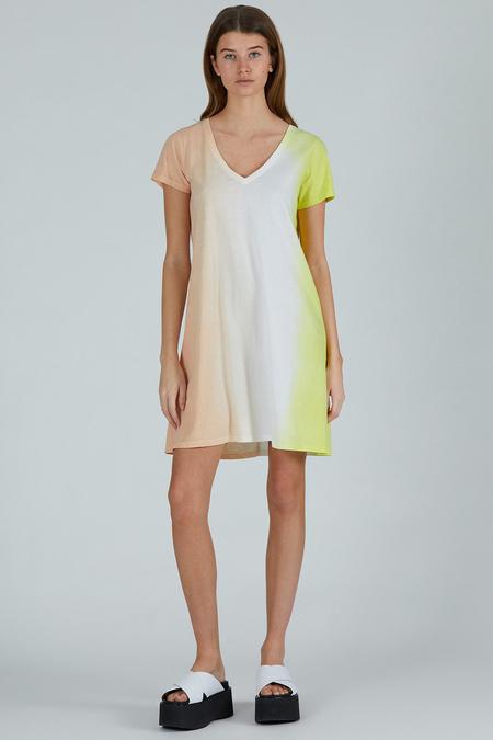 ATM Classic Jersey Dip Dye V-Neck Dress - Shell/Talc/Citron