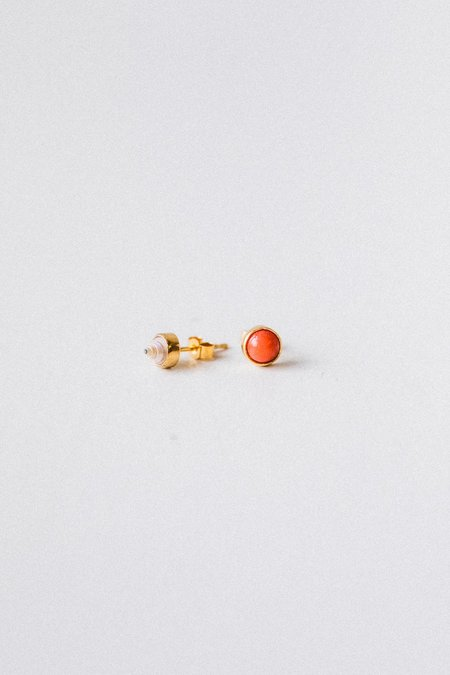 Grainne Morton Tiny Shell And Coral Mismatched Stud Earrings