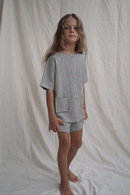 kids House Of Paloma Pascal Top - Olive Gingham