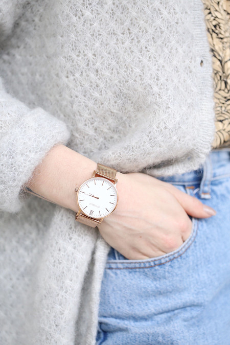 PIPERWEST Mesh Minimalist Watch in Rose Gold