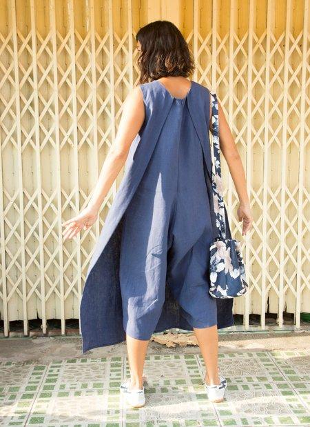 KAAREM Canna Front Layered Pocket Onesie jumpsuit - Salt Blue Linen