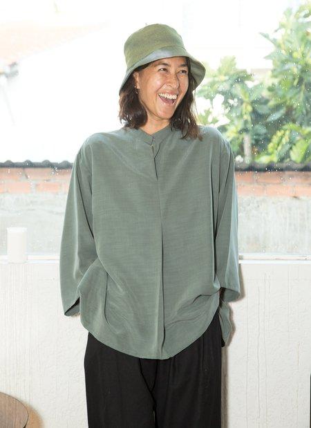 KAAREM Sand Wave Front Pleat Shirt - Sage Green