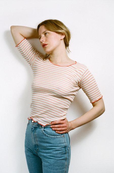 BASERANGE Pama 3/4 T shirt - Red/white stripe