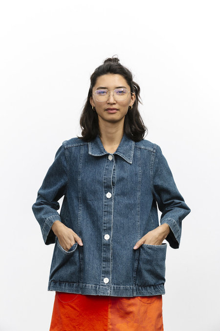 Carleen Patchwork Loren Pocket Jacket - Denim