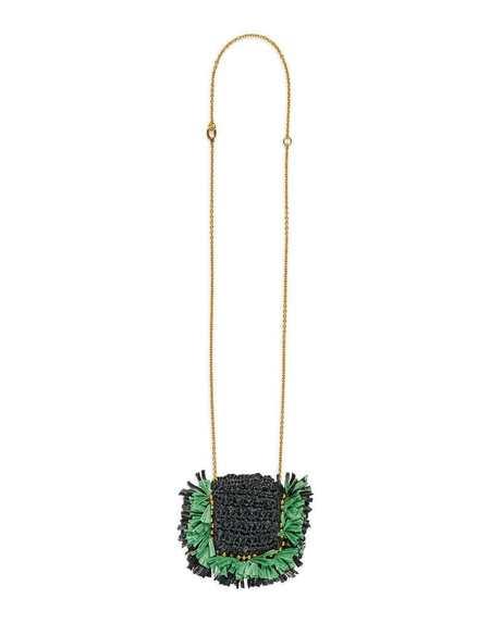 La Double J Mini Purse Necklace - Black/Green