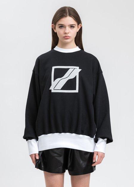 we11done Sequin Logo Sweater - Black