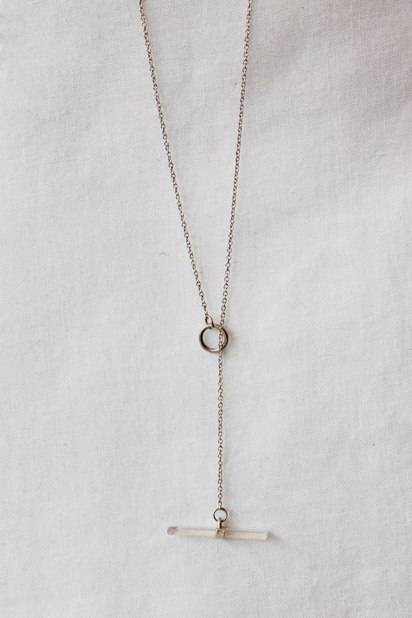 better late than never crystal lariat necklace