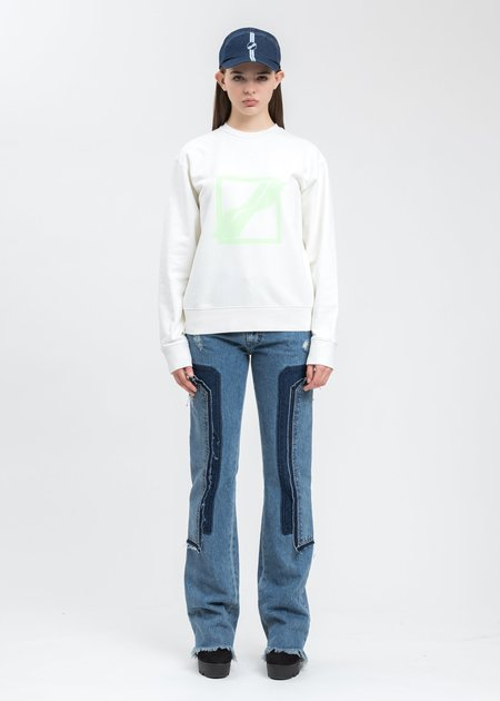 we11done Slim Logo Sweater - ivory