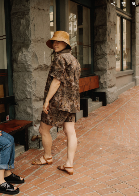 Ganni Cotton Poplin Shorts - Fossil