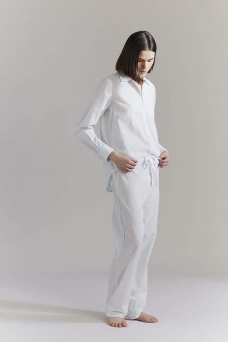 Laing Home Frances Cotton Pyjama Set - Sage/Cream Stripe
