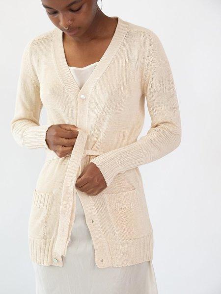 Erica Tanov Long Belted Cardigan - Natural