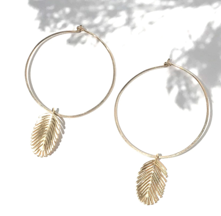 Slate Palm Frond Hoops - Gold