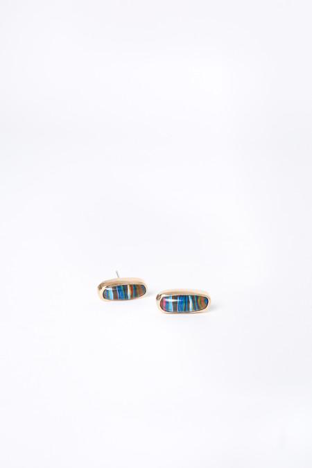 Melissa Joy Manning Bezel Set Post Earrings in Rainbow Calsilica/Gold