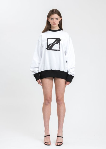we11done Sequin Logo Sweater - White