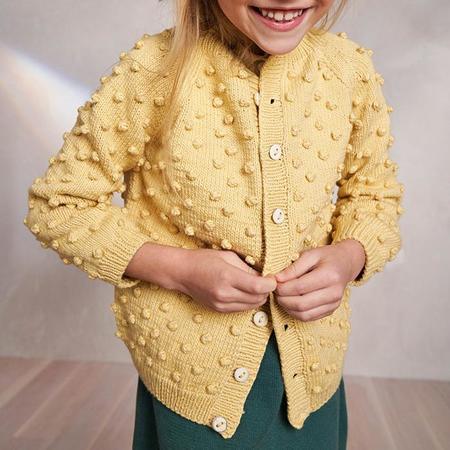 Kids Misha & Puff Summer Popcorn Cardigan - Straw Yellow