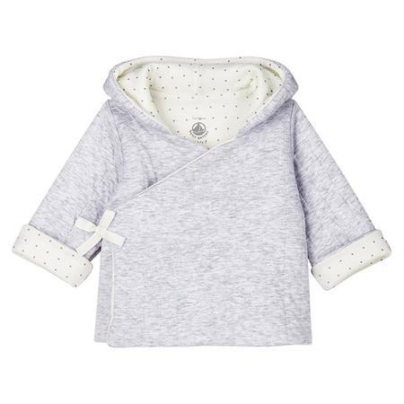 kids Petit Bateau Baby Mosaique Hood Jacket - Grey