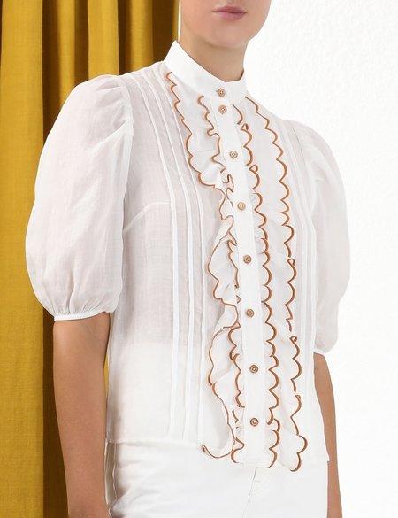 Zimmermann ALIANE SCALLOP FRILL SHIRT - white