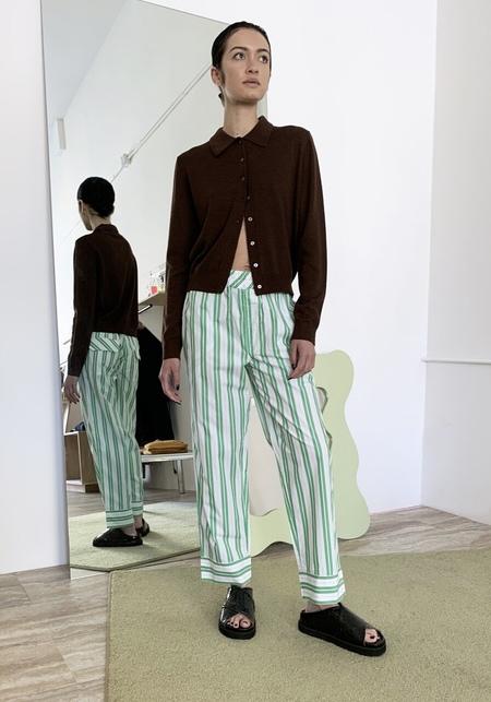 Ganni Striped Cotton Stripe Pants - Kelly Green