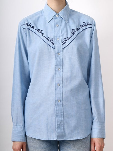 Vintage western button down shirt - light blue chambray