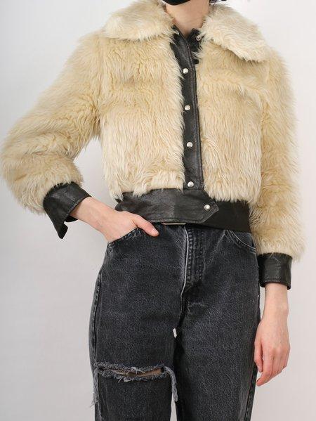Vintage cropped vegan fake fur 70s jacket - beige/brown