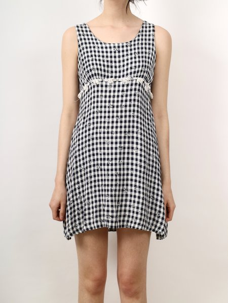 Vintage 90s daisies mini dress - gingham