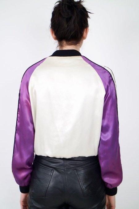 Vintage rollerskating style bomber - white/purple