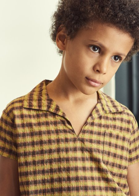 Kids Caramel Albacore Shirt - Mustard Check