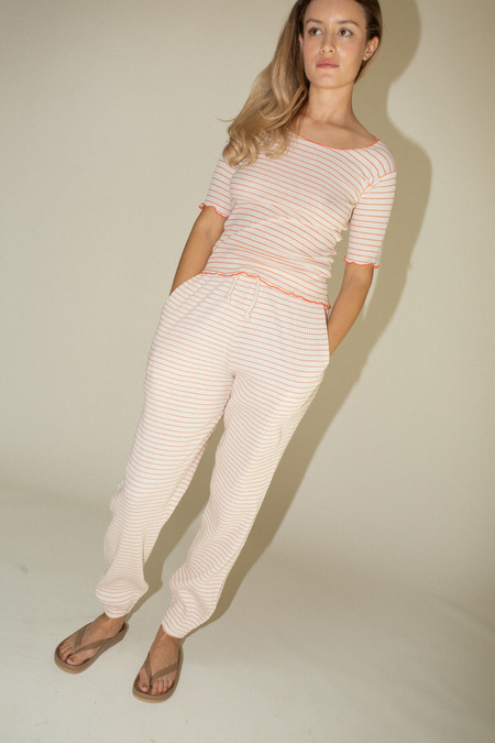 Baserange Basic Sweatpants - Red/White Stripe