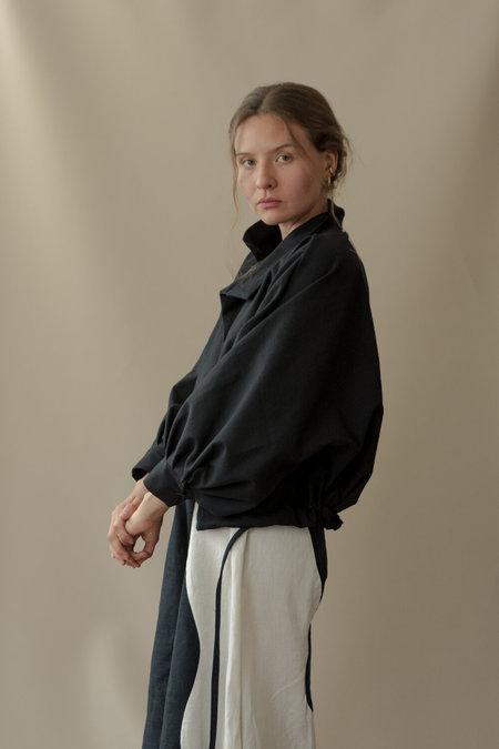 UNISEX Nin Studio FLIGHT JACKET CROPPED sweater - BLACK