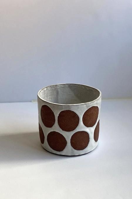 A.Cheng Dots Planter - brown/white