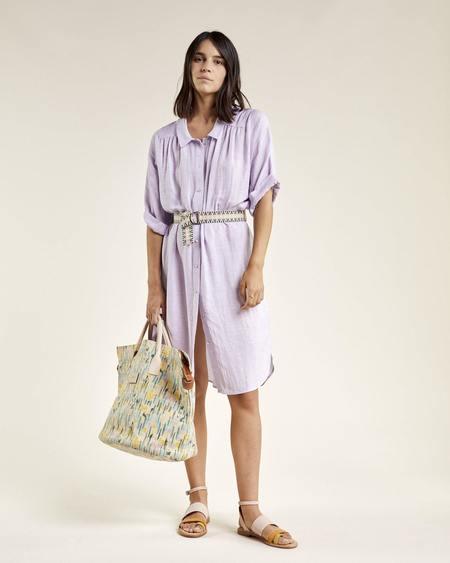 Sessun Lumio Belted Linen Blend Shirt Dress - Orchid Bloom