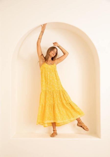 Melanie Silk Dress - Bamboo Sun