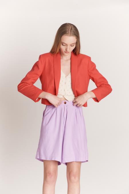 Pastiche Bermuda Linen Shorts - Lilac
