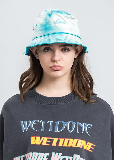 we11done Hand Bleached Iridescent Logo Embossed Bucket Hat - Green