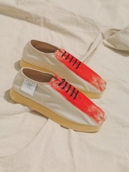 Marni Red Painted Canvas Square Toe Platform Sneaker