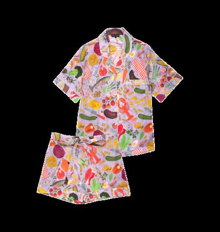 Karen Mabon Silk Short Pajama Set - Chef's Table Print