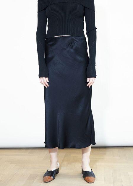 Anna October Lara Satin Midi Skirt - Black