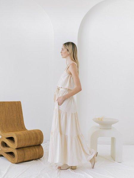 LAUDE the Label Tiered Maxi Skirt - Tulum Stripe