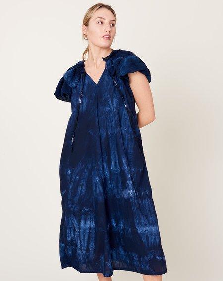 Raquel Allegra Lotus Dress - Indigo Tie Dye