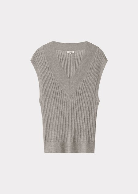 Caramel Sleeveless V Neck Vest - Grey Melange