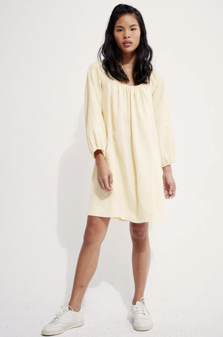 back beat rags Linen Rory Dress - Creme