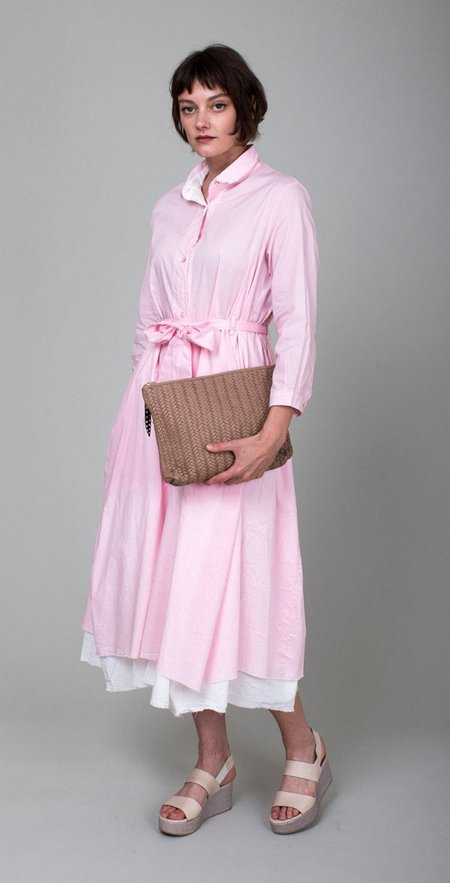 Kempton & Co Basket Weave Medium Pouch - Blush
